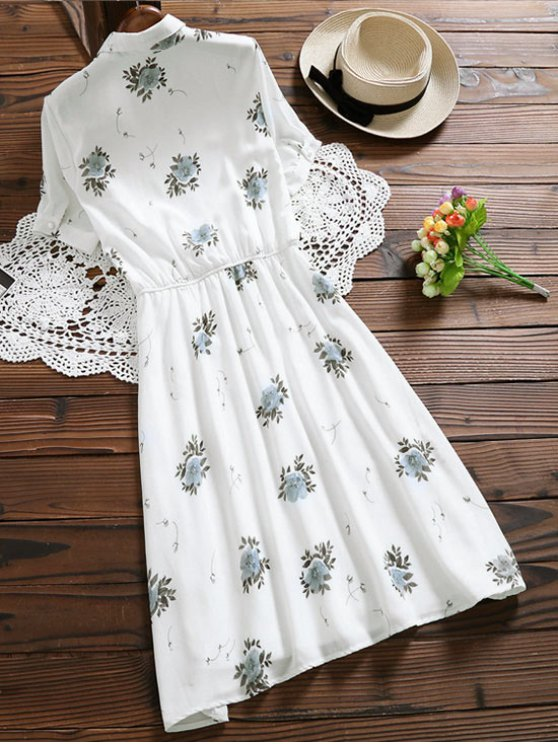 Floral Buttoned Tea Length Shirt Dress - WHITE S Mobile
