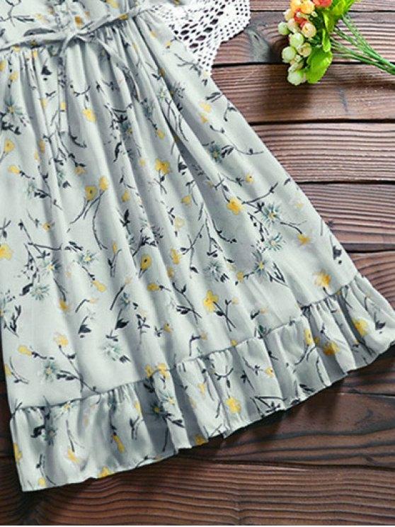 Chiffon Floral Buttoned Ruffle Dress With Belt - LIGHT BLUE XL Mobile