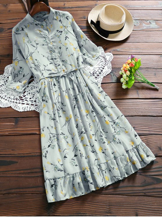 affordable Chiffon Floral Buttoned Ruffle Dress With Belt - LIGHT BLUE S