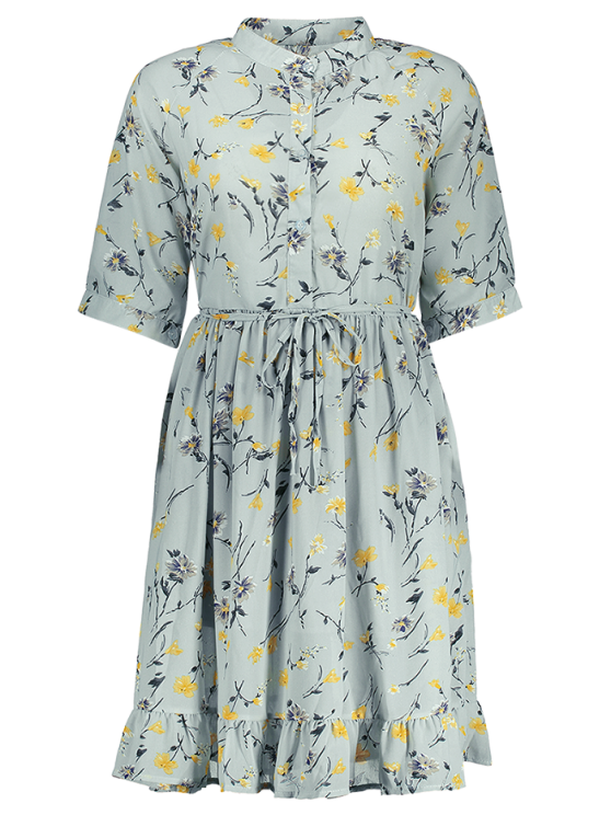 Chiffon Floral Buttoned Ruffle Dress With Belt - LIGHT BLUE S Mobile