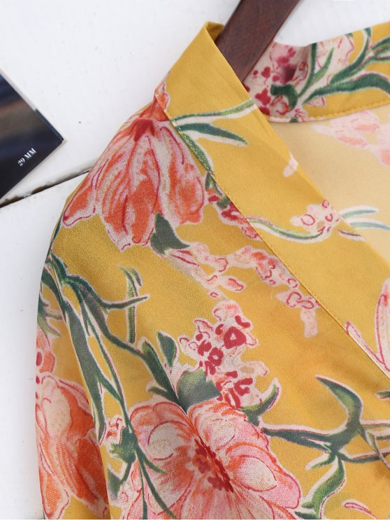 Drawstring Floral Kimono Duster Coat - YELLOW S Mobile