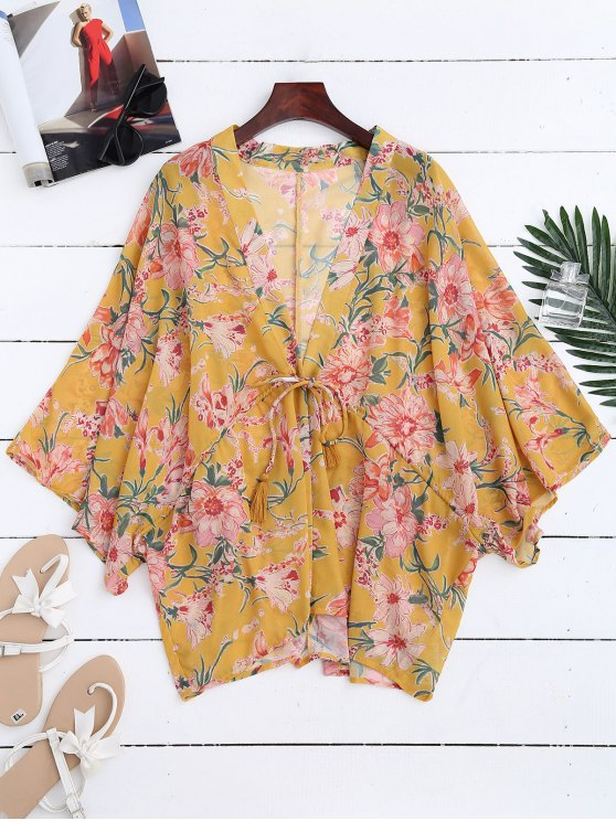 shops Drawstring Floral Kimono Duster Coat - YELLOW S