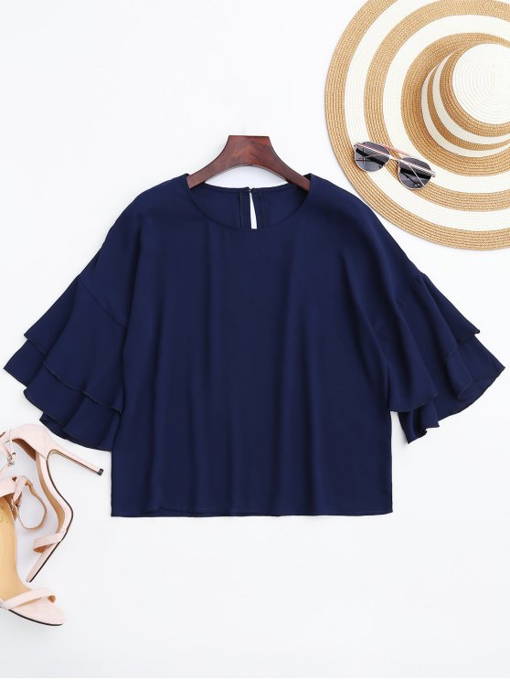 Blusa suelta de la gasa de la manga de la llamarada - Azul Purpúreo L