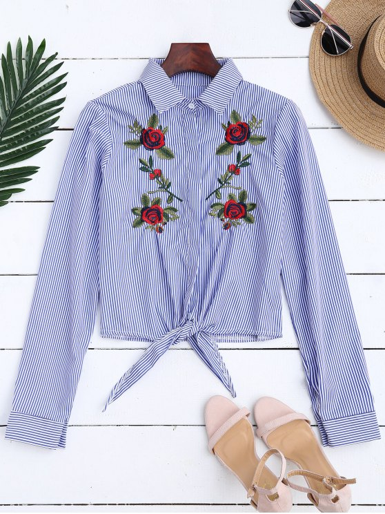 fancy Floral Embroidered Tied Striped Shirt - STRIPE M