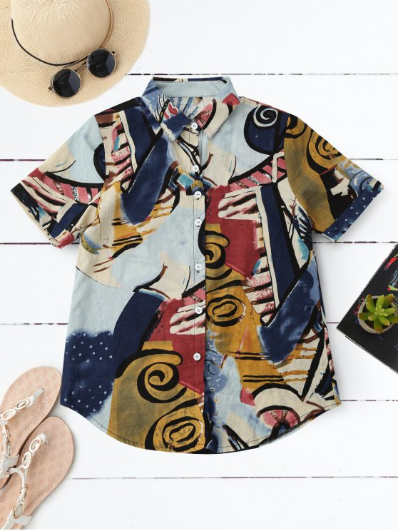 fashion Graffiti Print Holiday Shirt - COLORMIX M