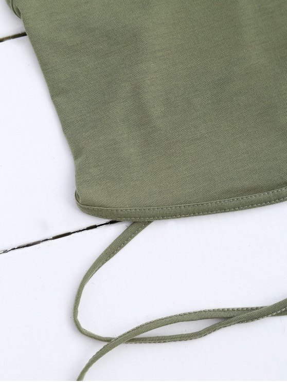 Cross Back Lace Up Crop Top - ARMY GREEN S Mobile