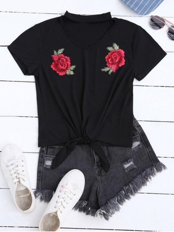 Floral Applique Choker T-Shirt - BLACK S Mobile