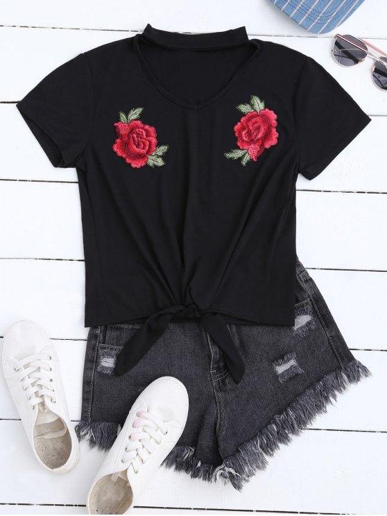 trendy Floral Applique Choker T-Shirt - BLACK M