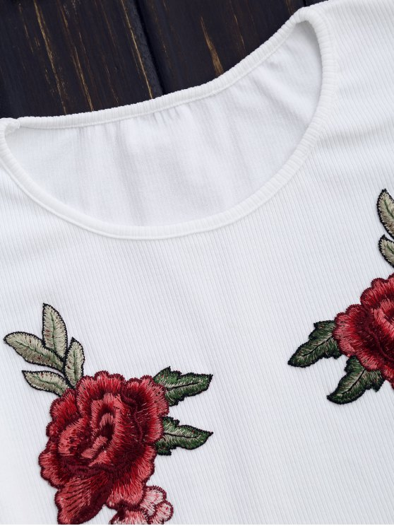 Knitting Floral Patched Ribbed Top - WHITE S Mobile