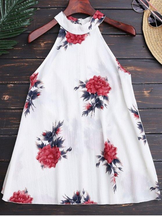 online Floral Print Flowy Choker Halter Top - WHITE S