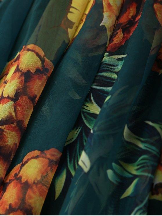 Pineapple Print Midi Skirt - GREEN ONE SIZE Mobile