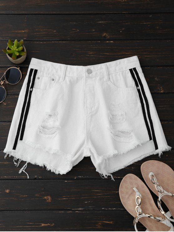 Shorts Denim Ripped With Side Stripes - Blanc XL