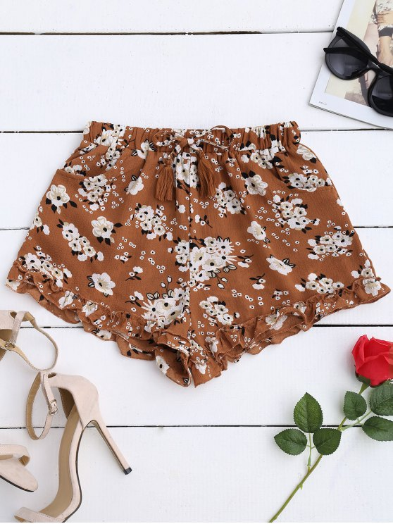 ladies Drawstring Floral Ruffled Shorts - FLORAL M