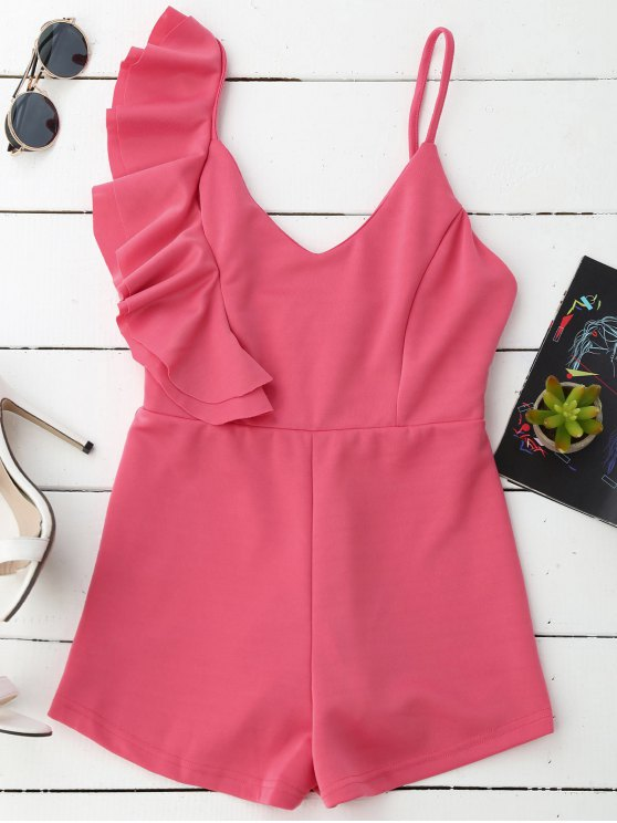 outfits Ruffle Cami Romper - DEEP PINK XL