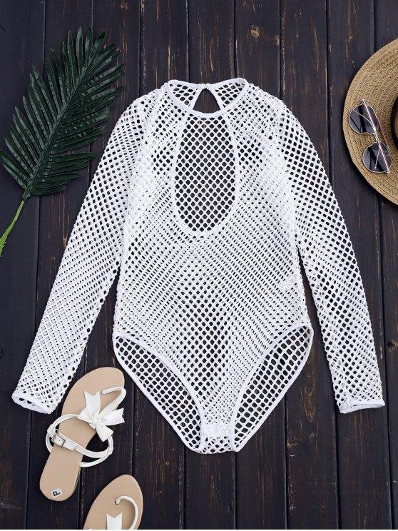 Corte de láser de alta pierna Bodysuit - Blanco M