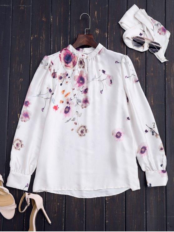 Blusa de pintura china con lazo - Blanco S
