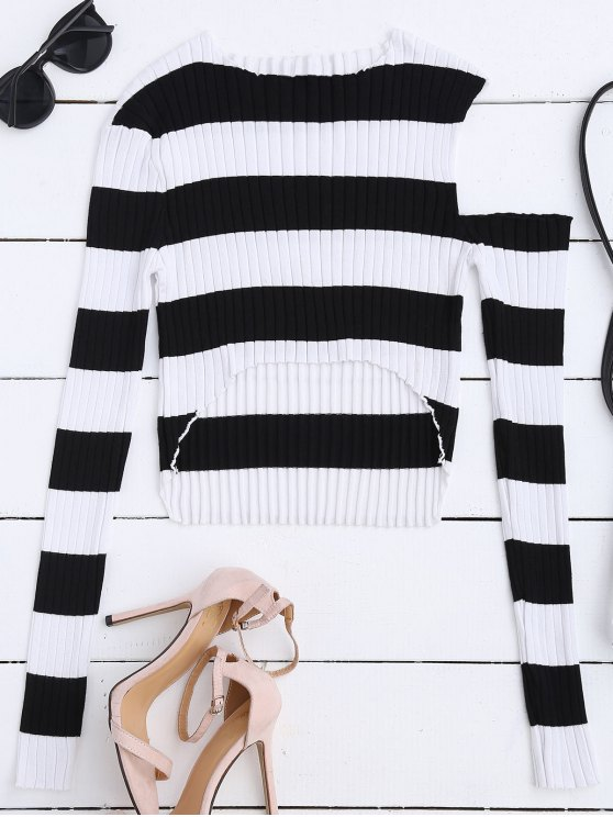 High Low Cold Shoulder Striped Knitwear - WHITE AND BLACK M Mobile