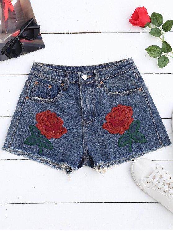 best Cutoffs Embroidered Denim Shorts - DENIM BLUE L