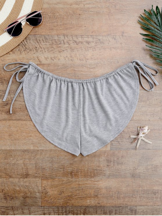 Side Tie Beach Cover Up Shorts - GRAY ONE SIZE Mobile
