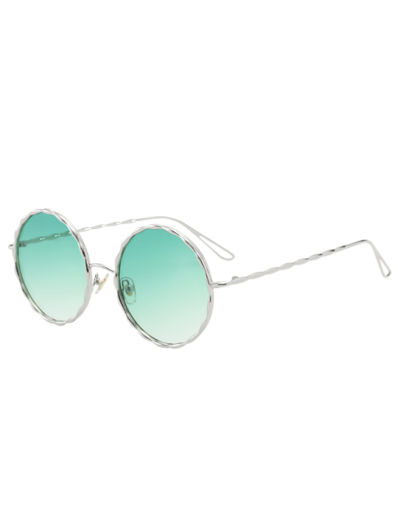sale Wavy Metallic Frame Leg Ombre Round Sunglasses - GREEN