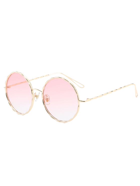 affordable Wavy Metallic Frame Leg Ombre Round Sunglasses - PINK