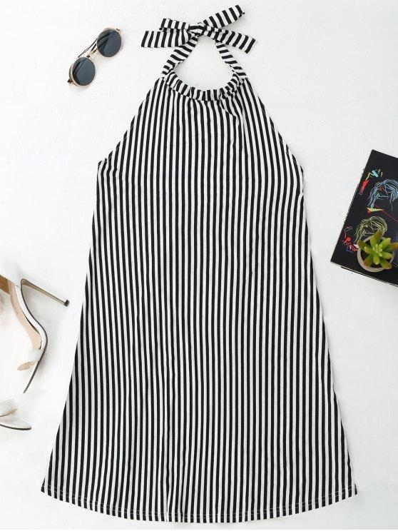 latest Halter Backless Striped Dress - STRIPE XL