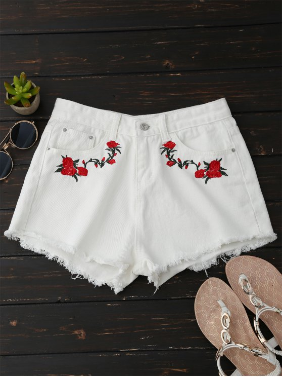 affordable Frayed Floral Embroidered Cutoffs - WHITE S