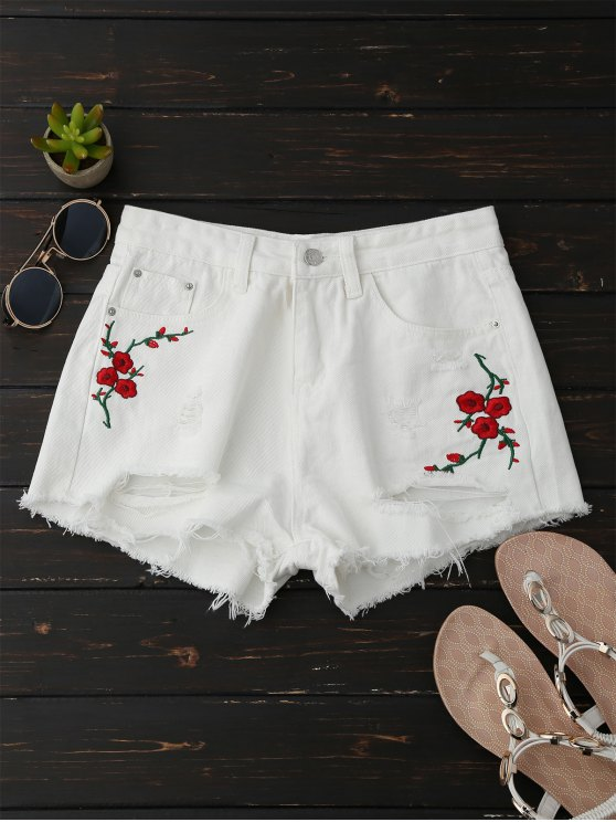 unique Embroidered Flower Ripped Hot Denim Shorts - WHITE L