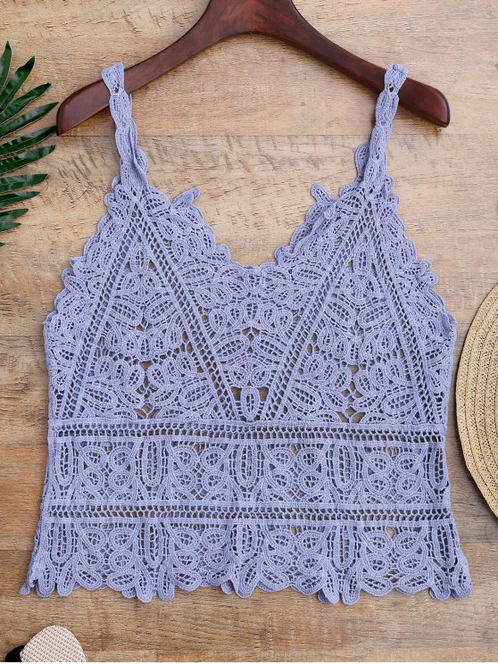 shop Hollow Out Crochet Cami Cover Up - LIGHT BLUE ONE SIZE