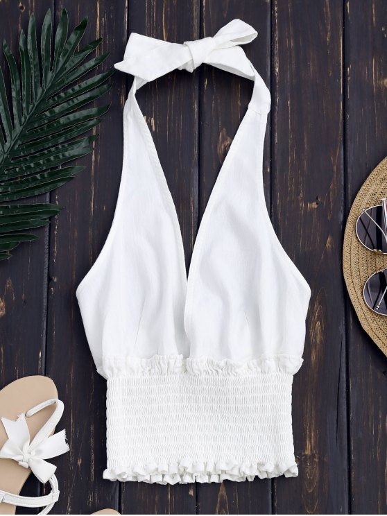 affordable Backless Halter Shirred Waist Top - WHITE S