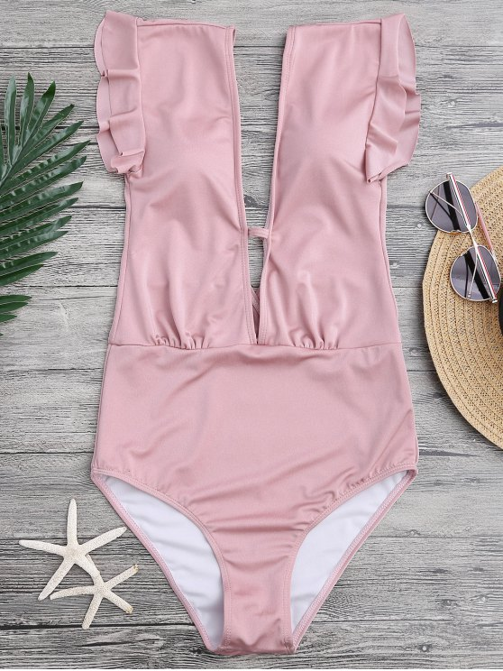 shop Frilled Plunge One Piece Swimsuit - PINK M