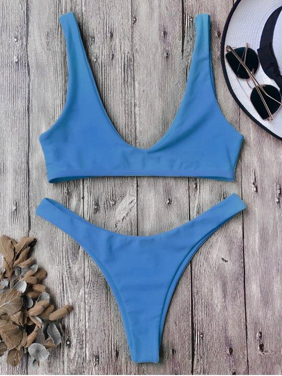 latest High Cut Scoop Bikini Set - BLUE M
