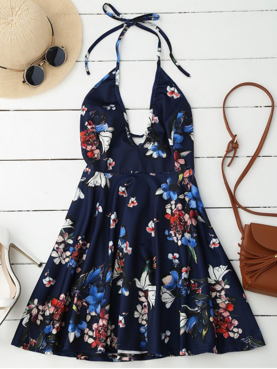 Halter Plunge Backless Floral Dress - Bleu Foncé M