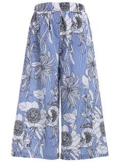 Floral Stripes Wide Leg Pants - L