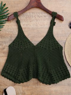 Laser Cut Crochet Tank Cover Up - Green