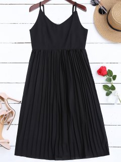 Chiffon Pleated Beach Slip Dress - Black M