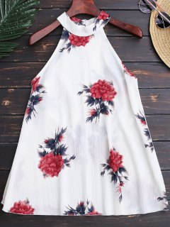 Floral Print Flowy Choker Halter Top - White M