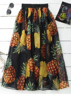 Pineapple Print Midi Skirt - Black