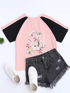 Color Block Back Embroidered Baseball T-Shirt - Pink S