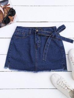 Self Tie Frayed Hem Denim Skirt - Deep Blue