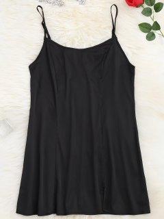 Satin Side Slit Cami Dress - Black M