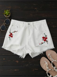 Embroidered Flower Ripped Hot Denim Shorts - White Xl