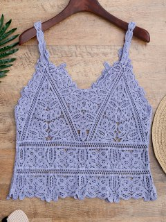 Hollow Out Crochet Cami Cover Up - Light Blue