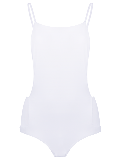 buy Backless Solid Color Straps One-Piece Swimwear - WHITE M Mobile