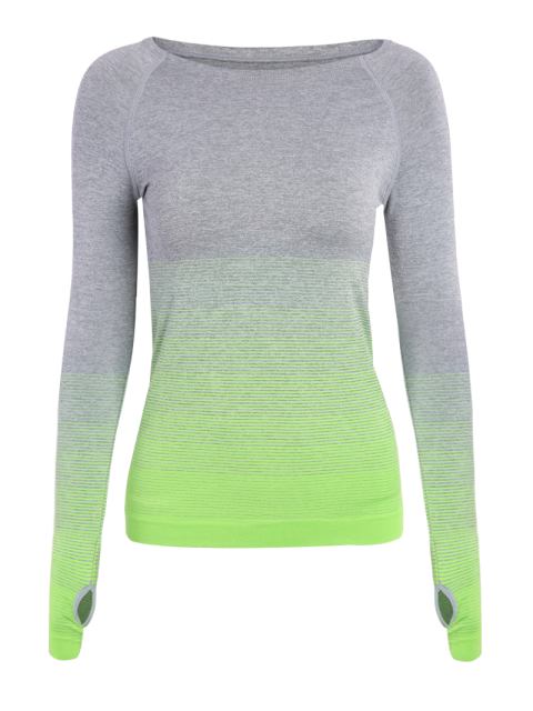 best Ombre Yoga Gym T-Shirt - GREEN S Mobile