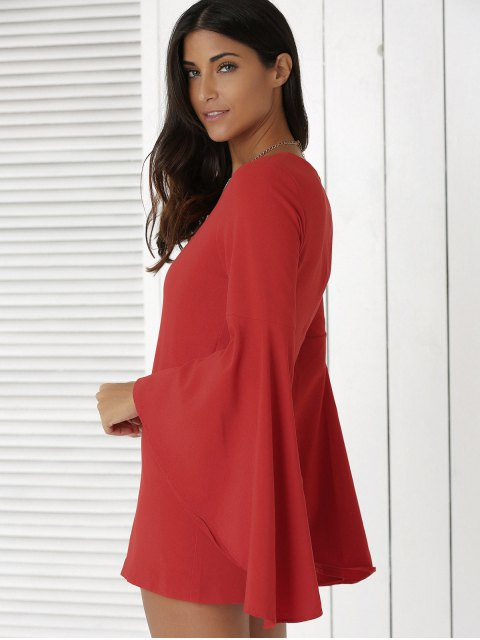 latest Solid Color Plunging Neck Flare Sleeve Sheath Sexy Mini Dress - RED L Mobile