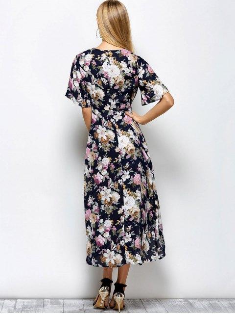 ladies Front Slit Floral Maxi Surplice Dress - FLORAL M Mobile