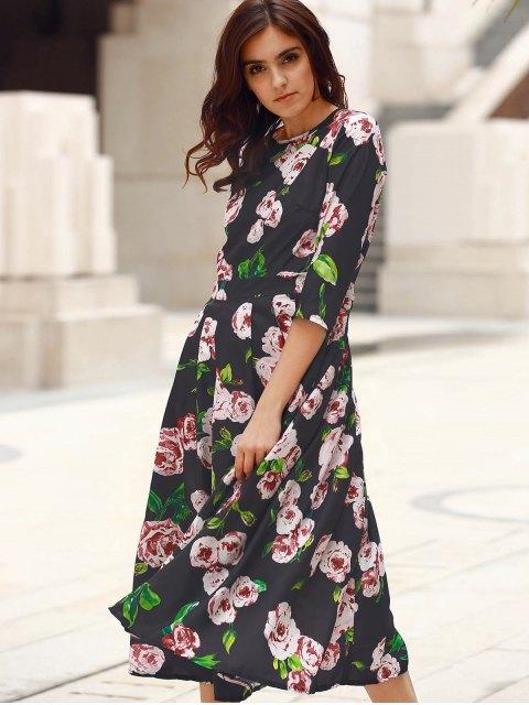 fashion 3/4 Sleeve Floral Print Midi Dress - BLACK S Mobile