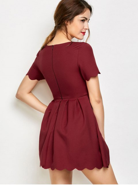 outfit Ruched Scalloped A-Line Dress - RED 2XL Mobile