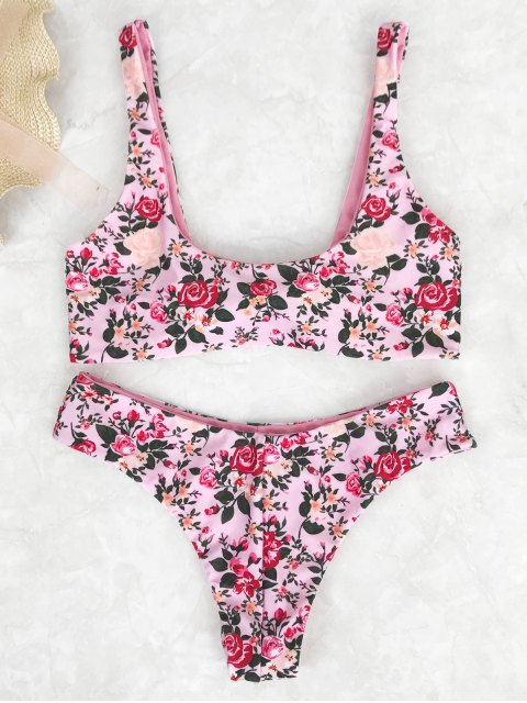 lady Knotted Floral Print Scoop Bikini Set - PINK S Mobile